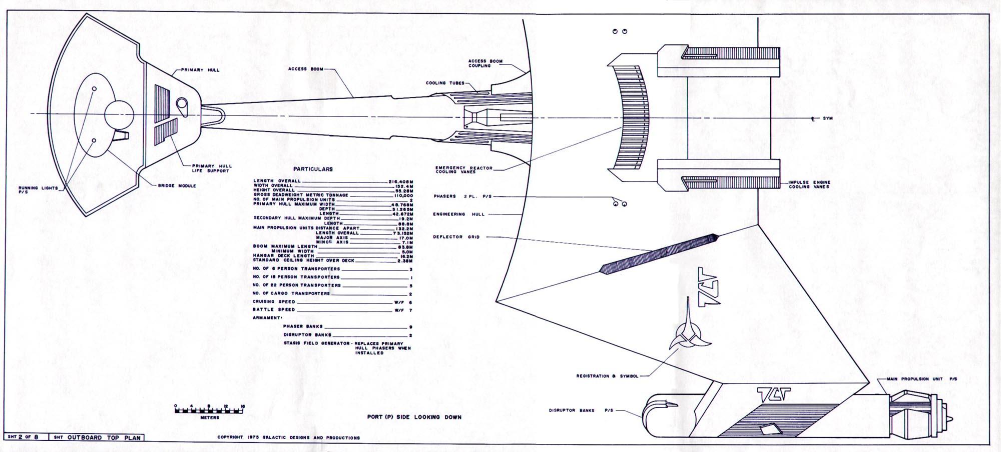 star trek blueprints  klingon d7 class battle cruiser