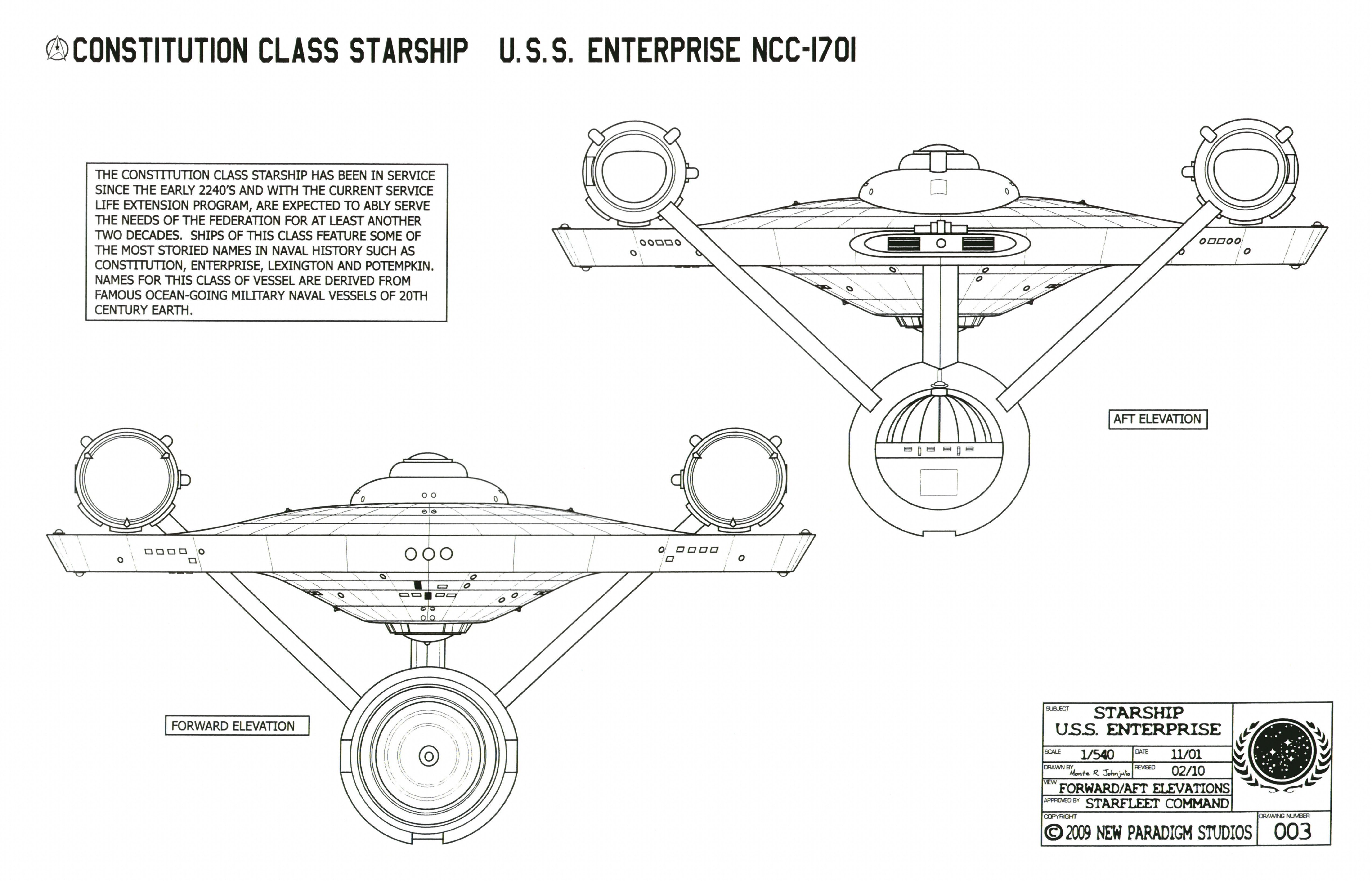 Charming Constitution Class Starship   U.S.S. Enterprise NCC 1701