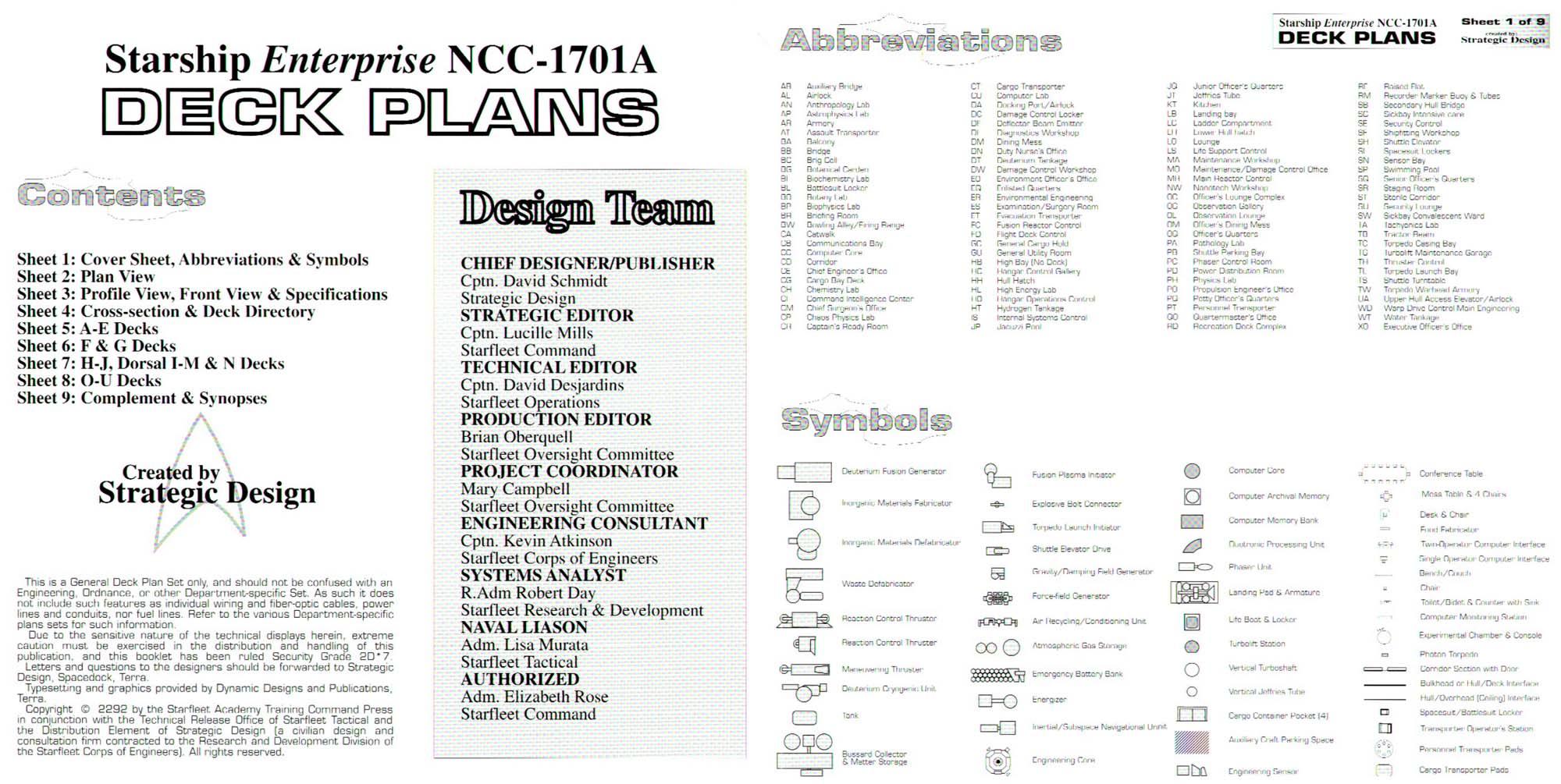 U S S Enterprise NCC-1701A Deck Plans