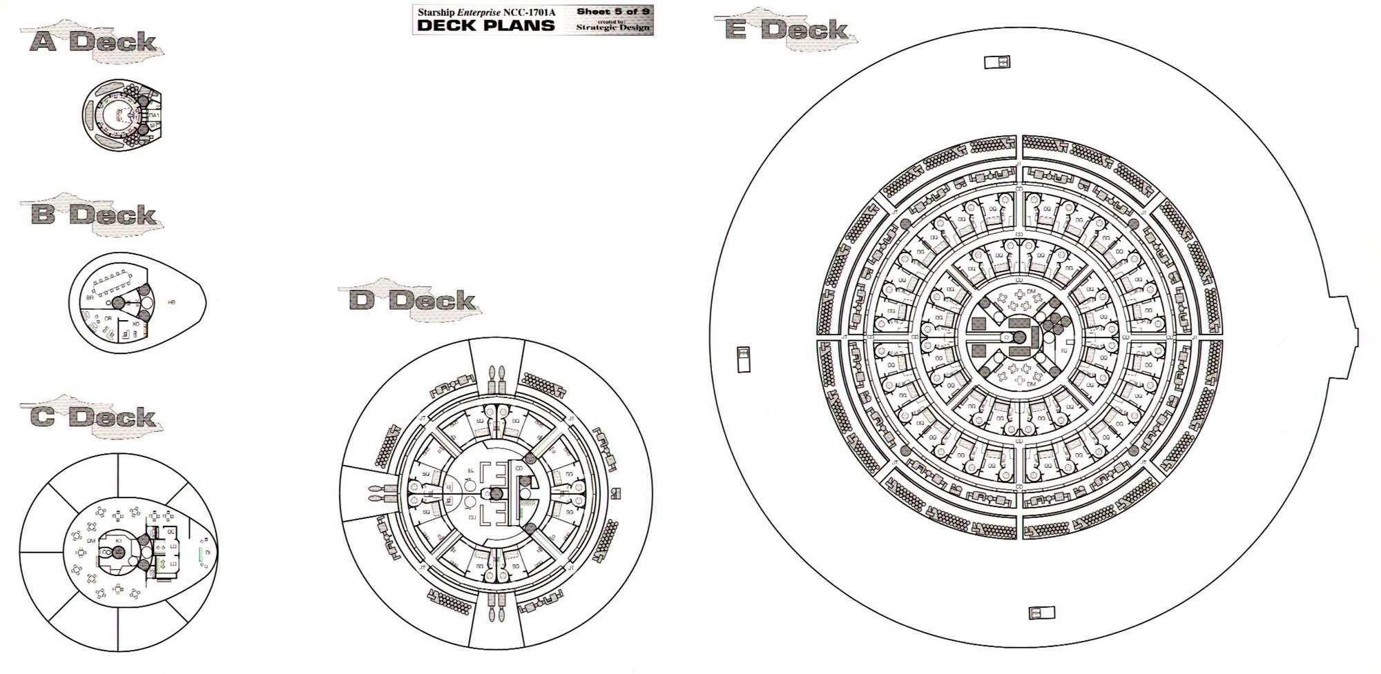 Enterprise ncc 1701a deck plans sheet 5 decks a b c d e views baanklon Images