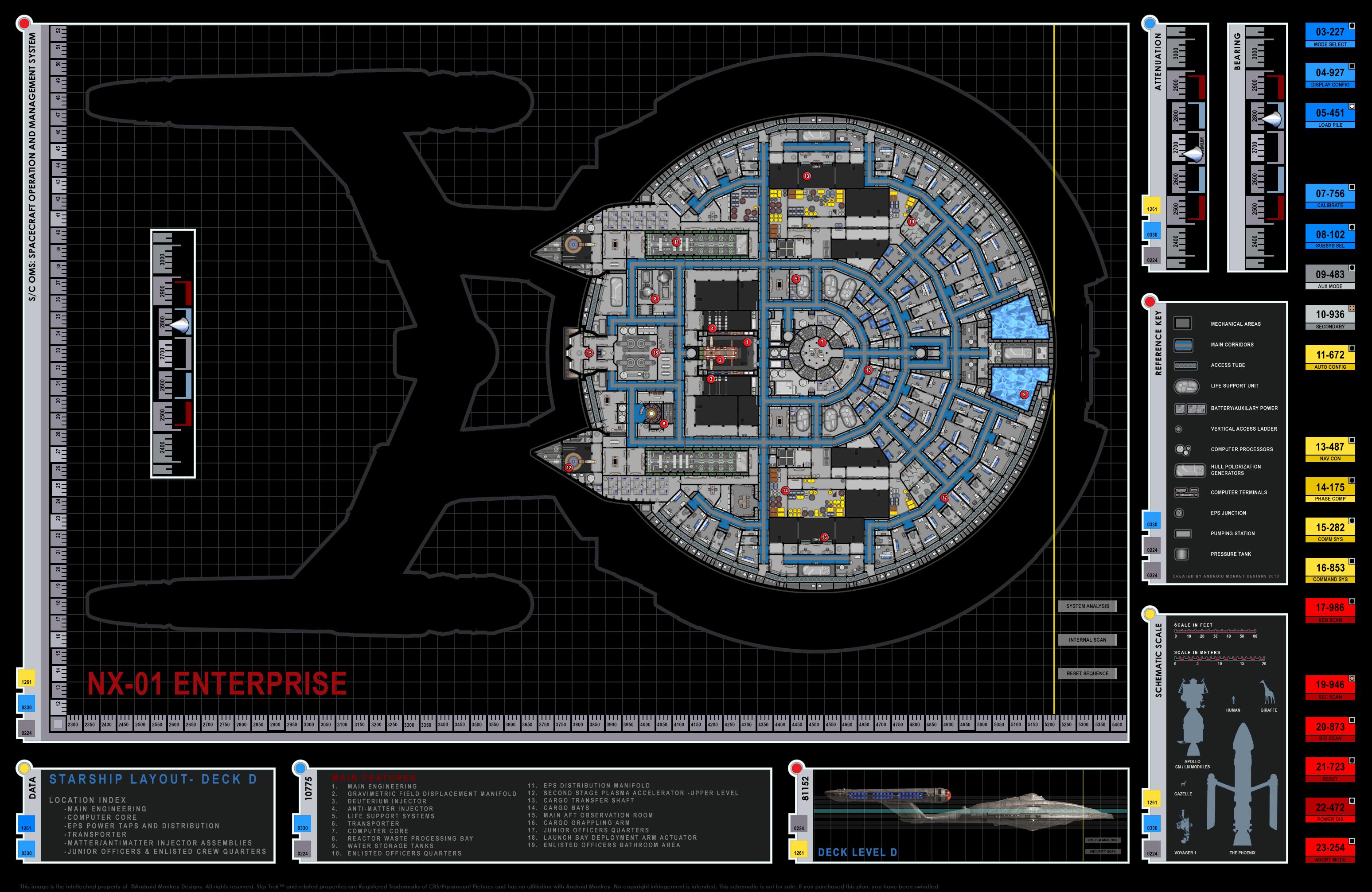 Star trek blueprints enterprise nx 01 deck plans for Deck blueprints