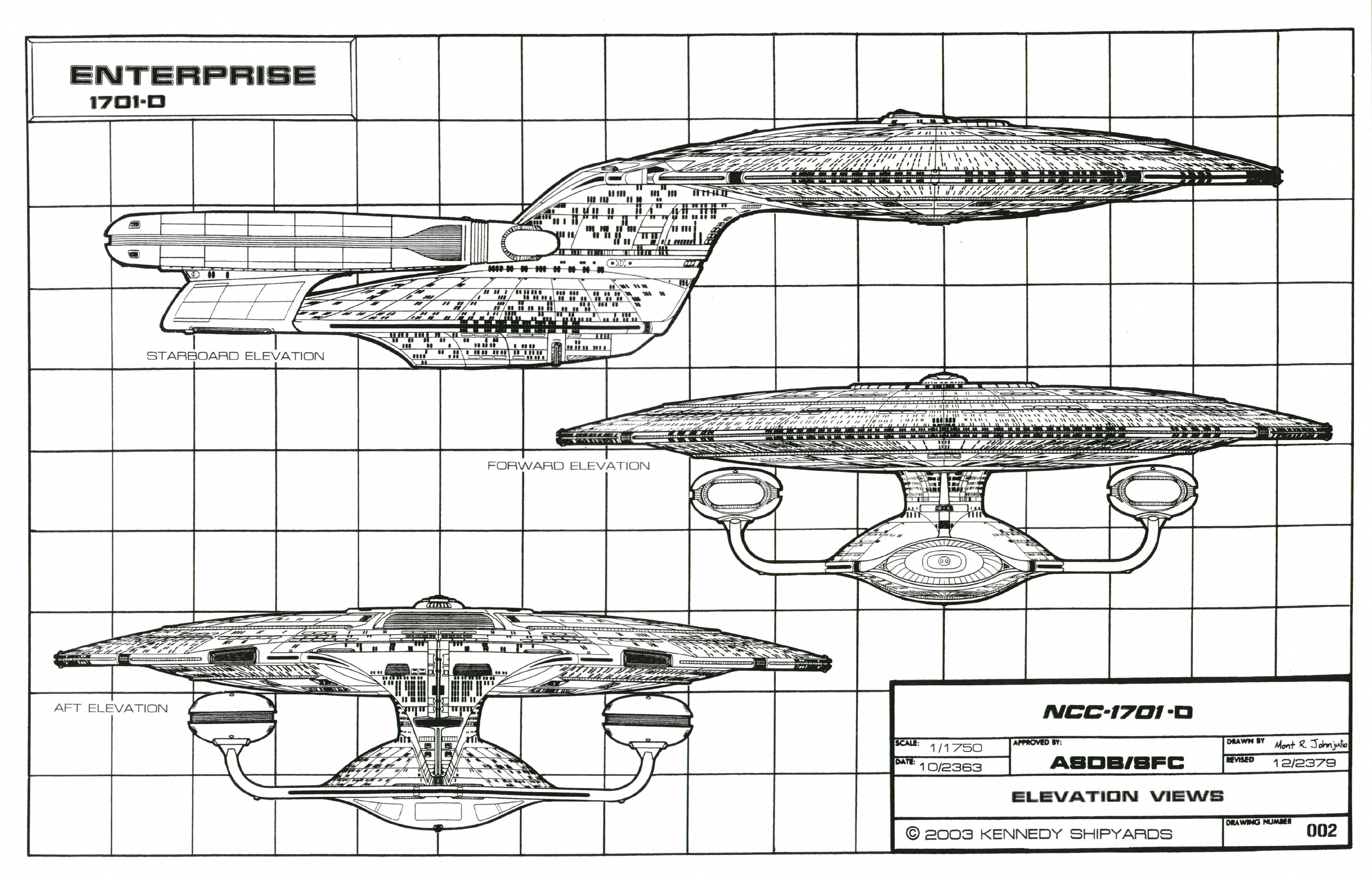 Star Trek Blueprints: Starfleet Vessel: Galaxy Cl ... Enterprise D Schematics on