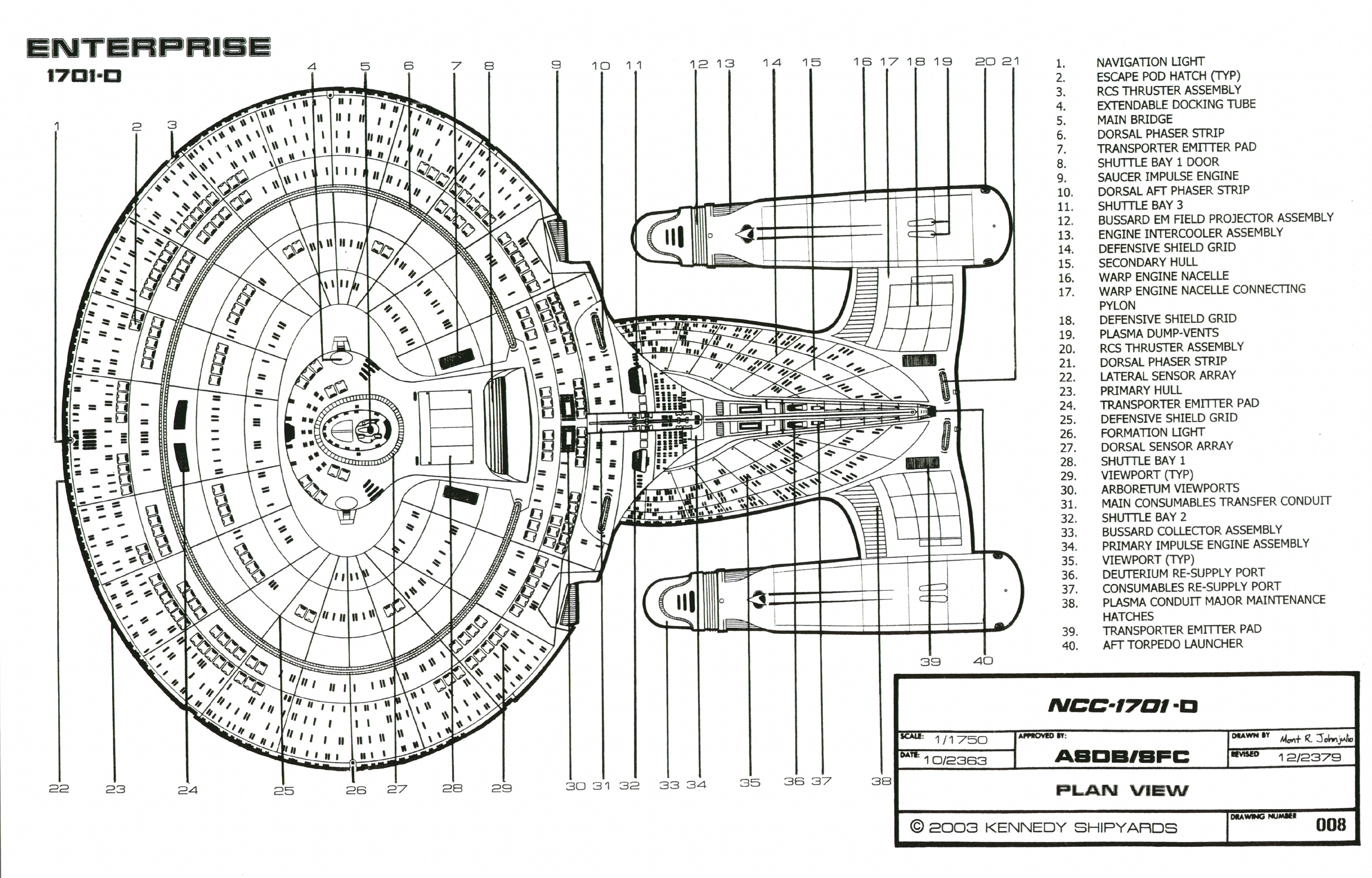 starfleet vessel: galaxy class starship - u.s.s. enterprise ncc-1701-d, Schematic