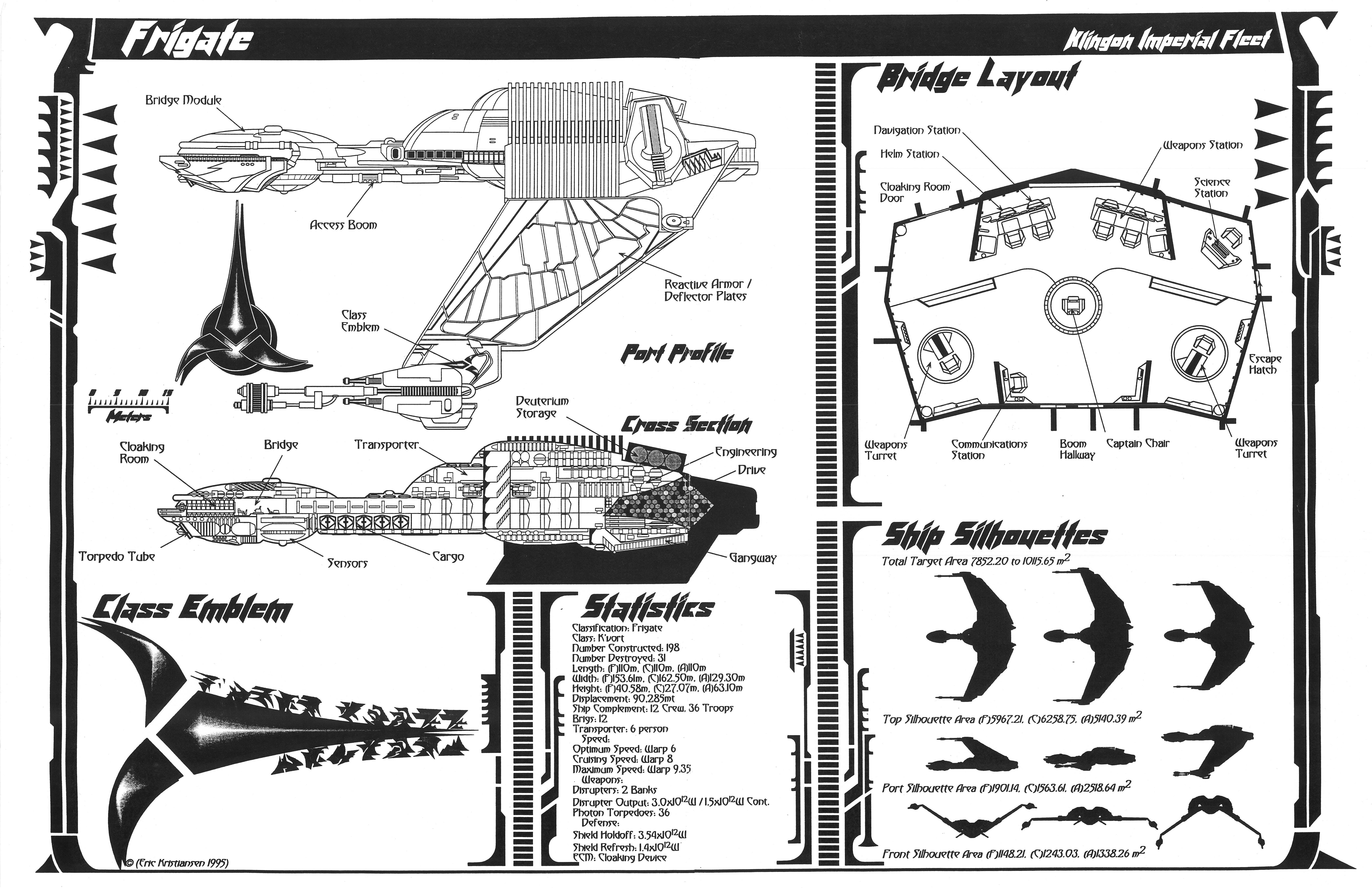 star trek blueprints  jackill u0026 39 s klingon k u0026 39 vort class frigate