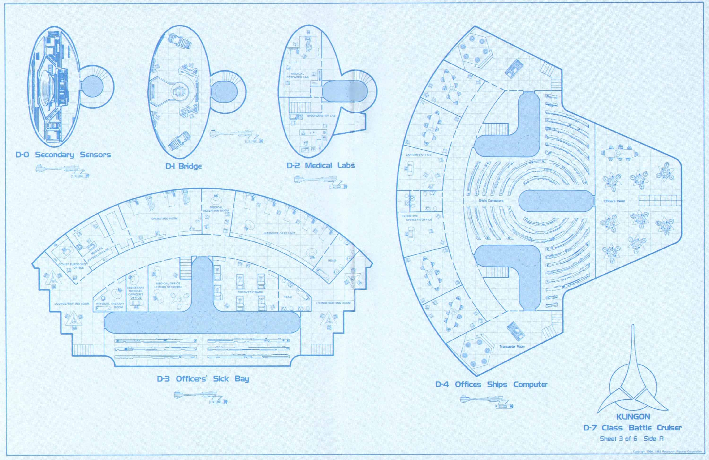 Star trek blueprints klingon d7 class battle cruiser 15mm for Deck blueprints online