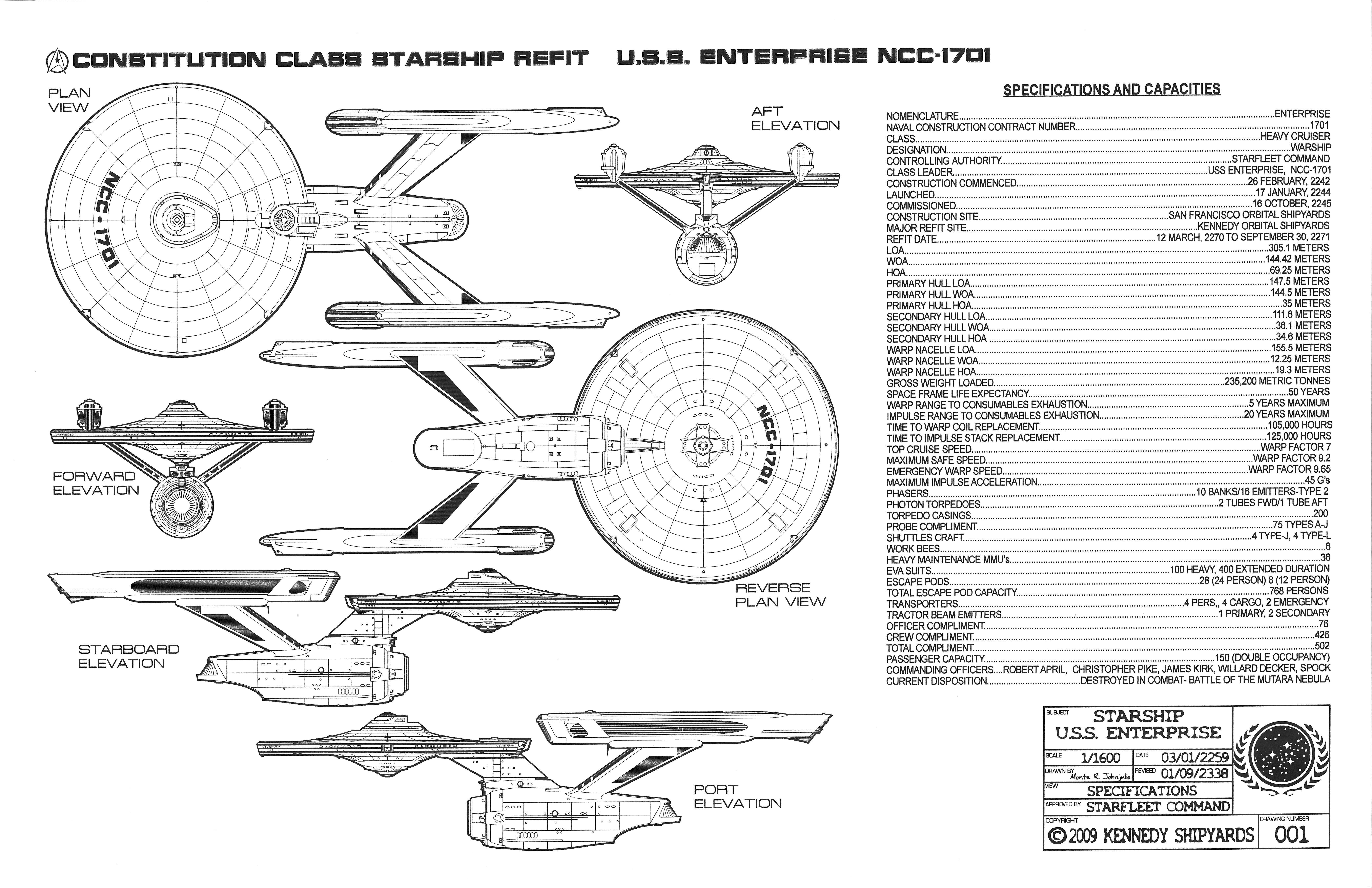 Nice U.S.S. Enterprise NCC 1701   Constitution Class Starship Refit Blueprints