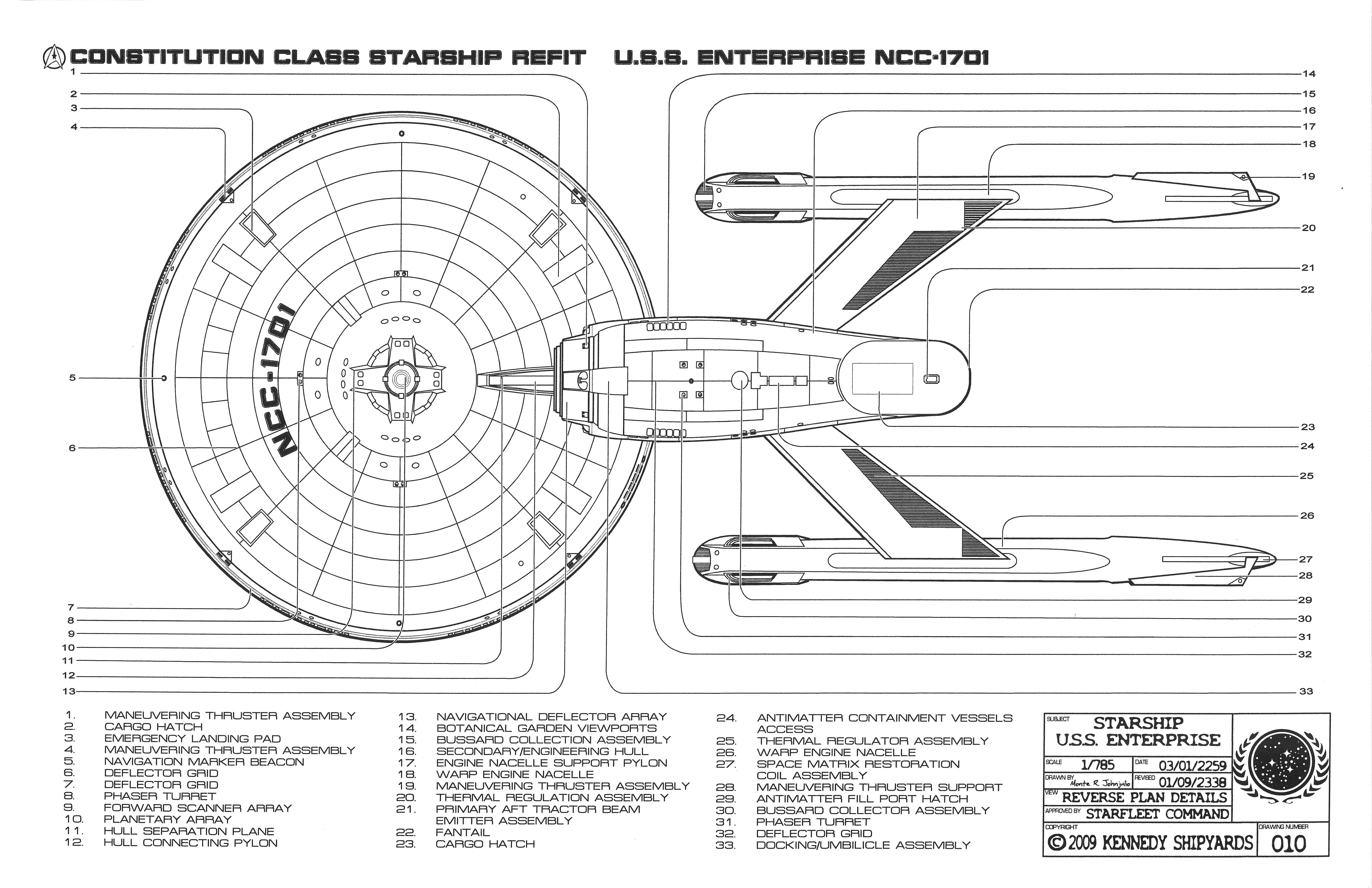 U.S.S. Enterprise NCC 1701   Constitution Class Starship Refit Blueprints