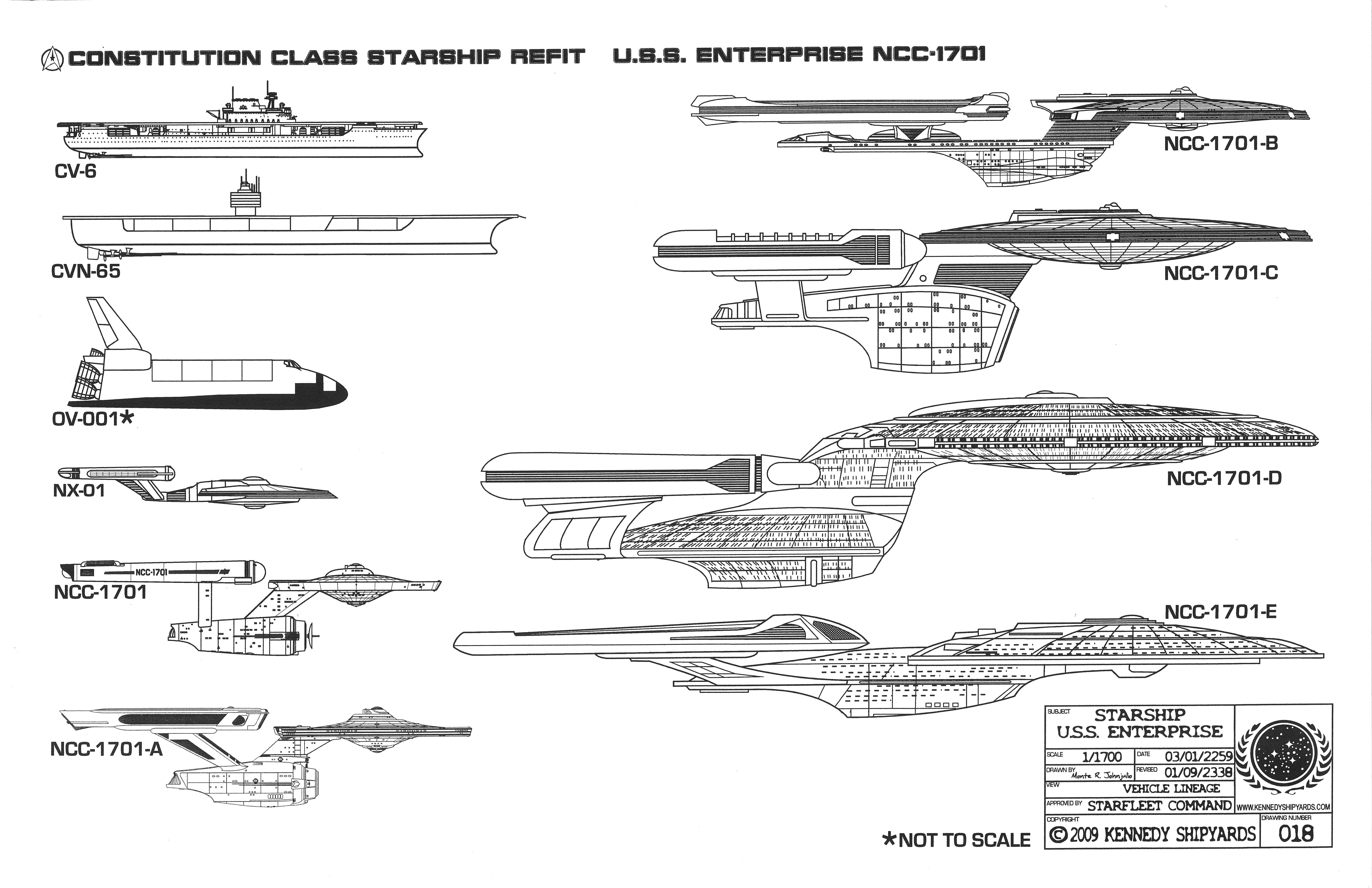 Enterprise NCC-1701 - Constitution Class Starship Refit Blueprints