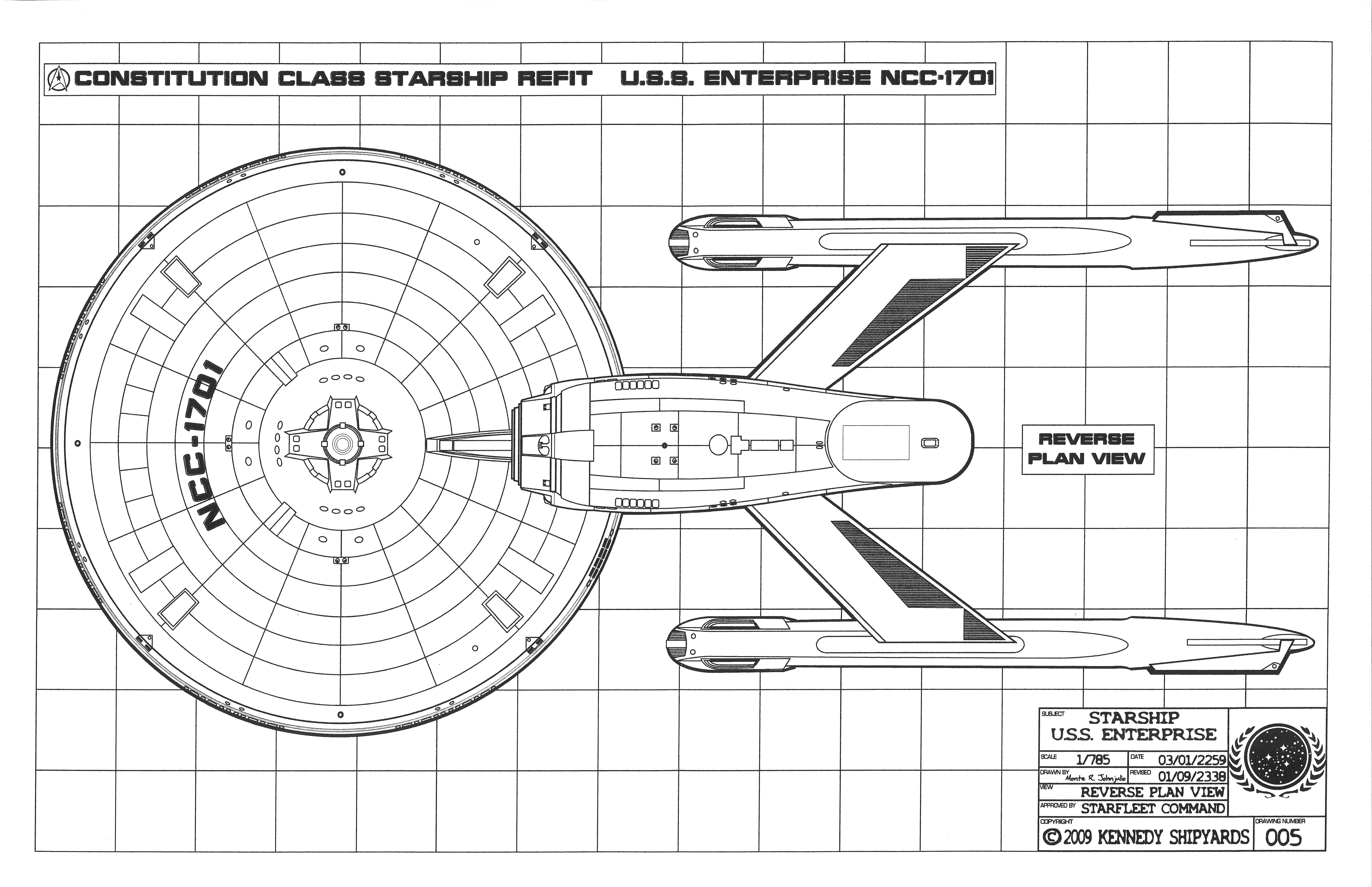 U.S.S. Enterprise NCC 1701   Constitution Class Starship Refit Blueprints