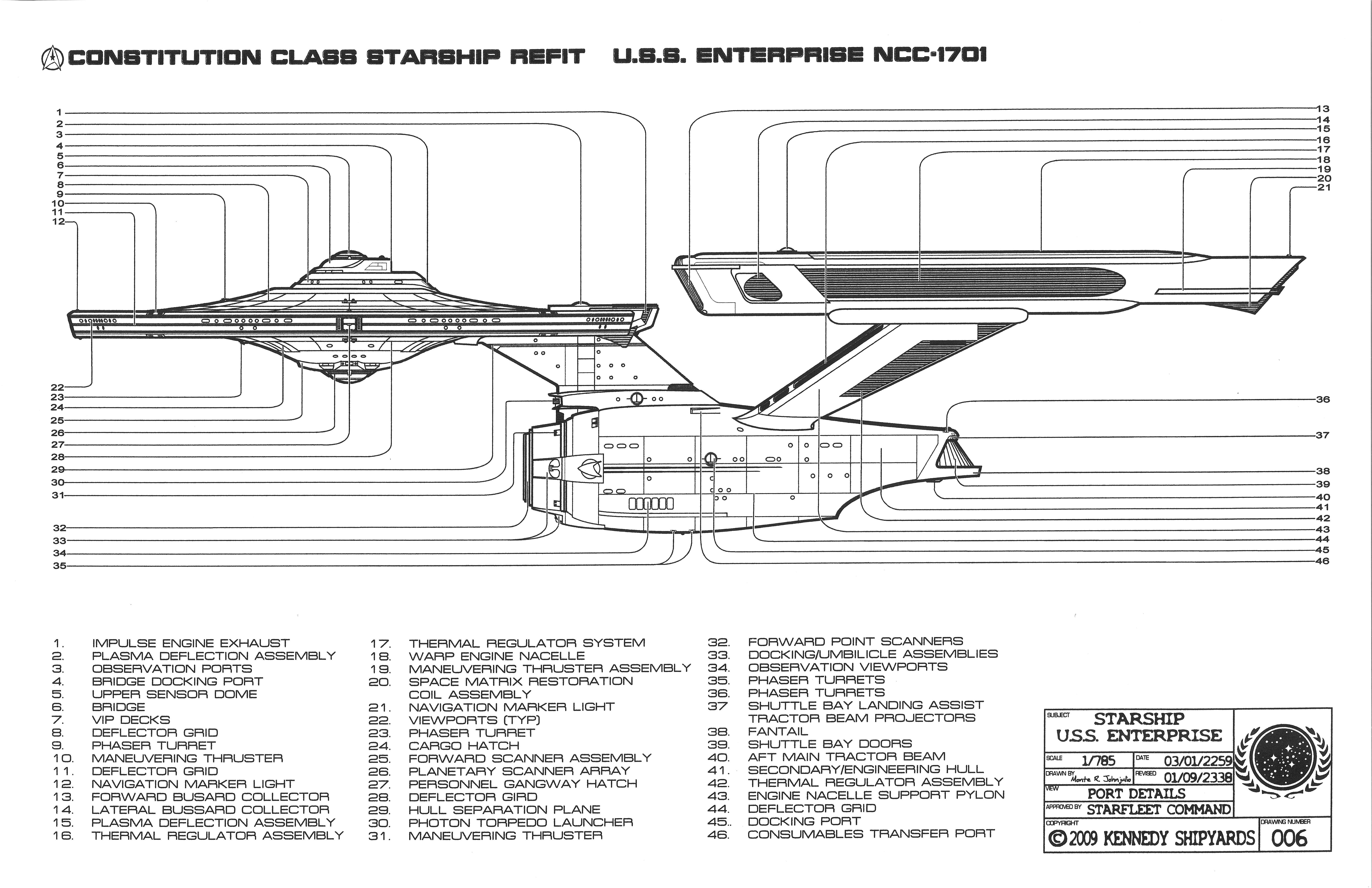 Good U.S.S. Enterprise NCC 1701   Constitution Class Starship Refit Blueprints