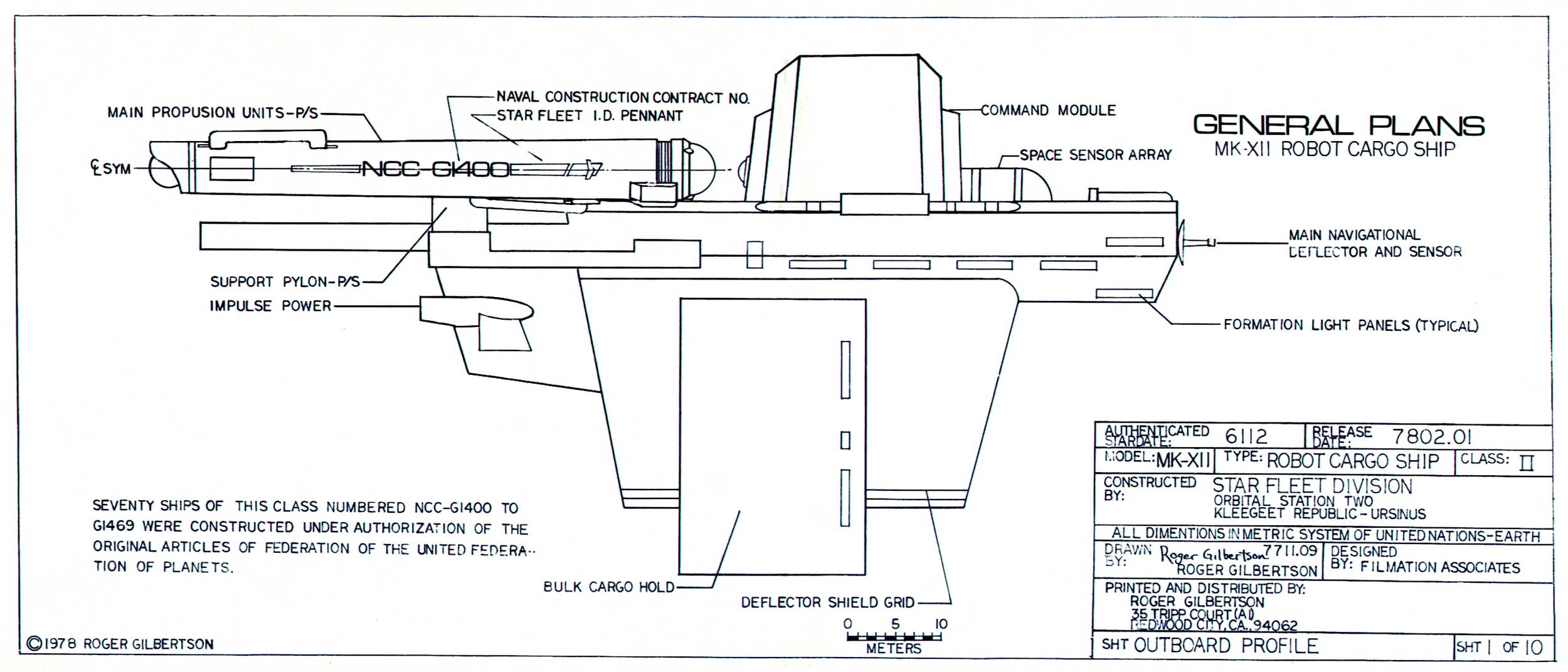 Cargo Ship Blueprint : Star trek blueprints general plans mk xii robot cargo