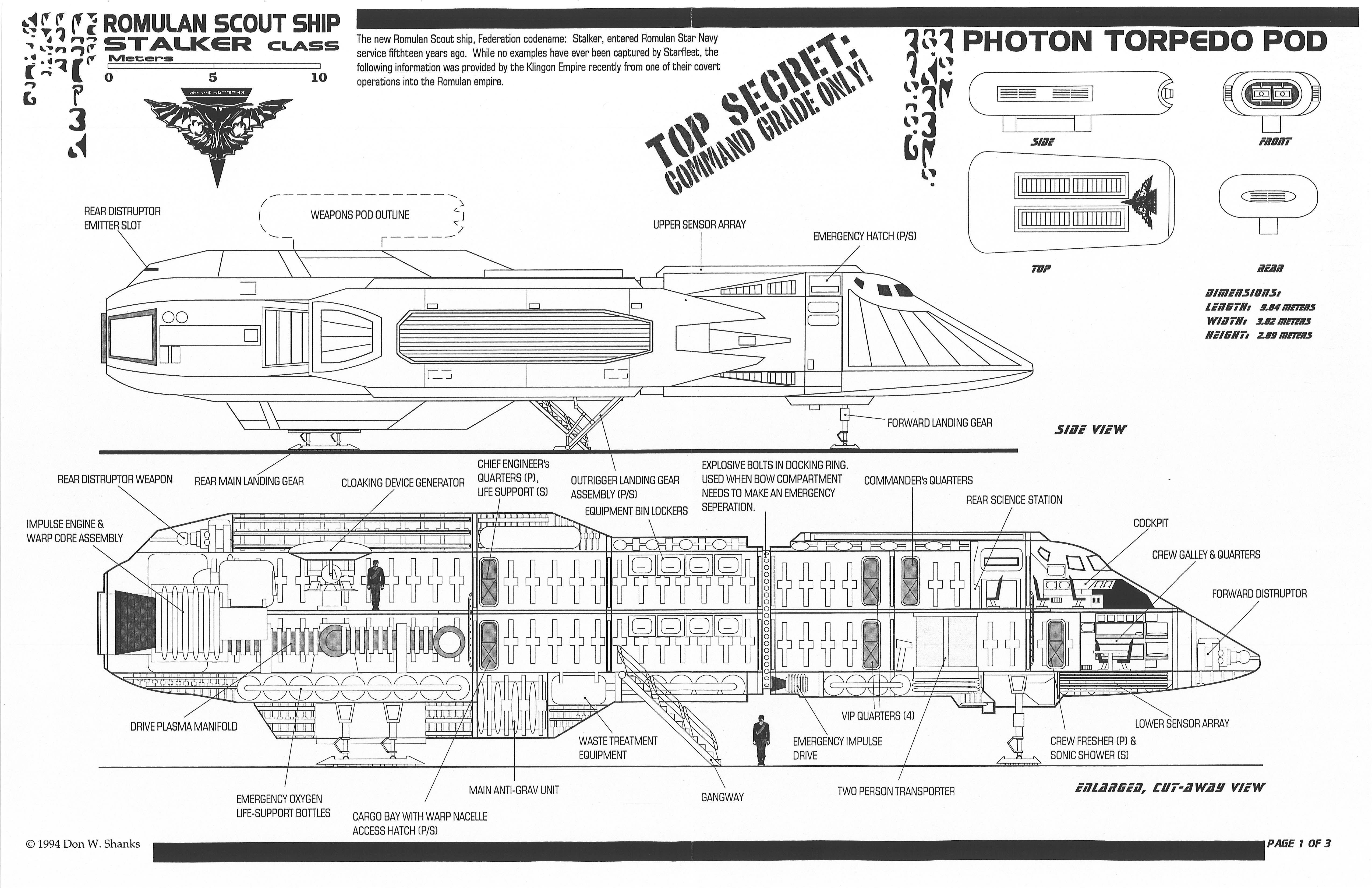 star trek blueprints  romulan scout ship