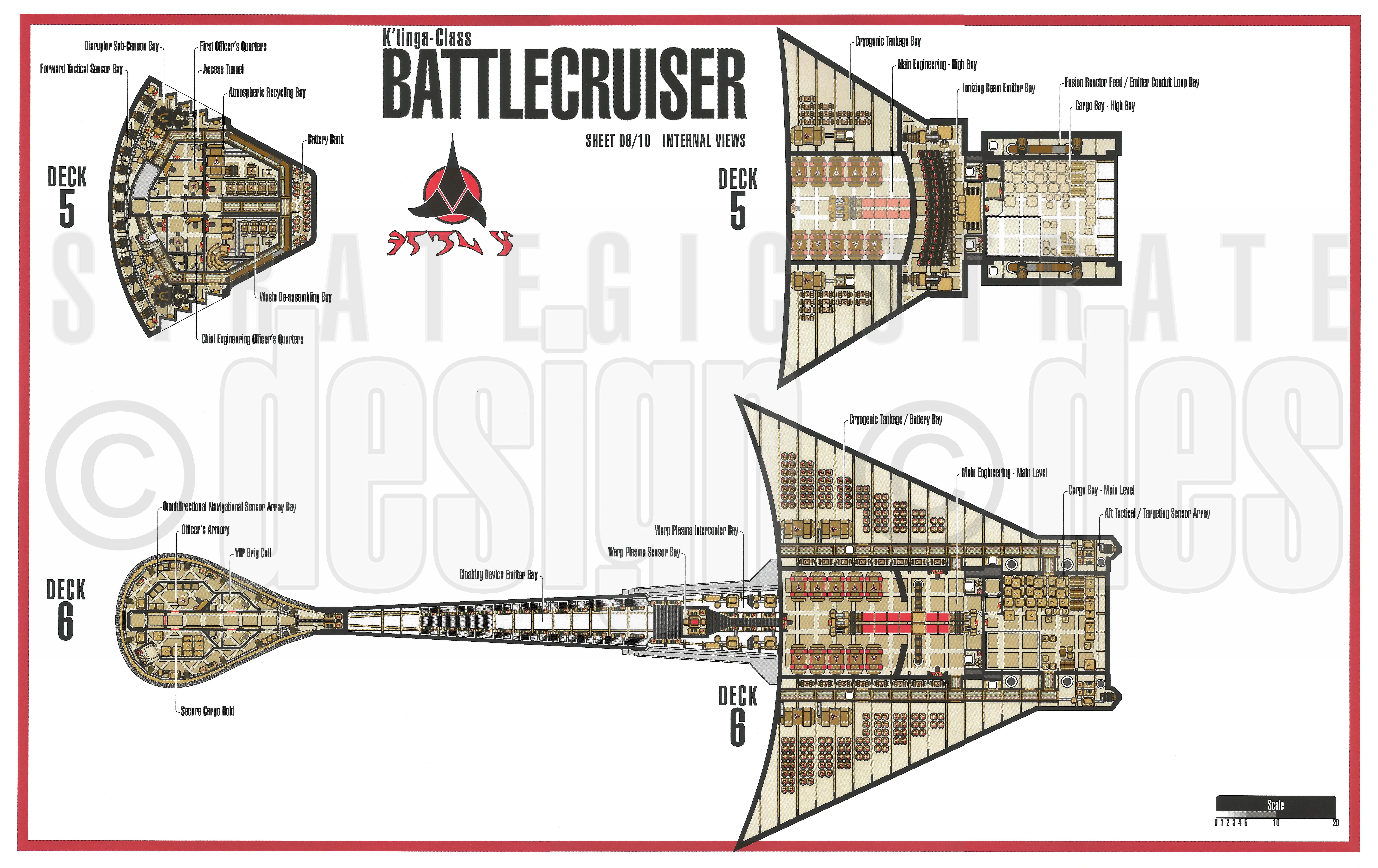 Star trek blueprints klingon k 39 tinga class battlecruiser for Deck blueprints online