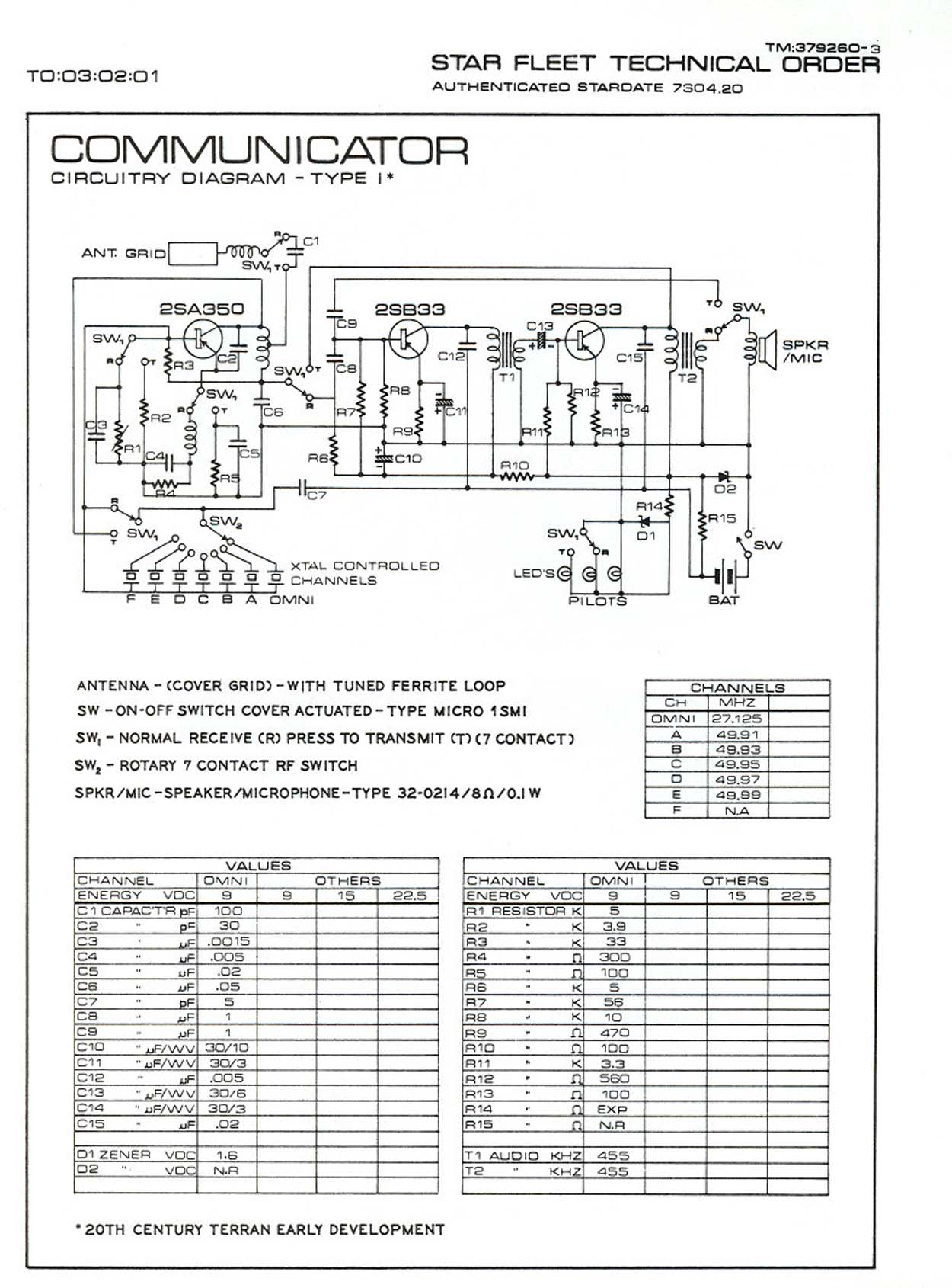 Star Trek Electronics Schematics Page 1 Circuit Diagram Of Walkie Talkie Edited To Add Heh No Point Even Bothering With Google Its