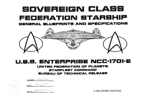 Star Trek Blueprints Sovereign Class Federation Starship Uss