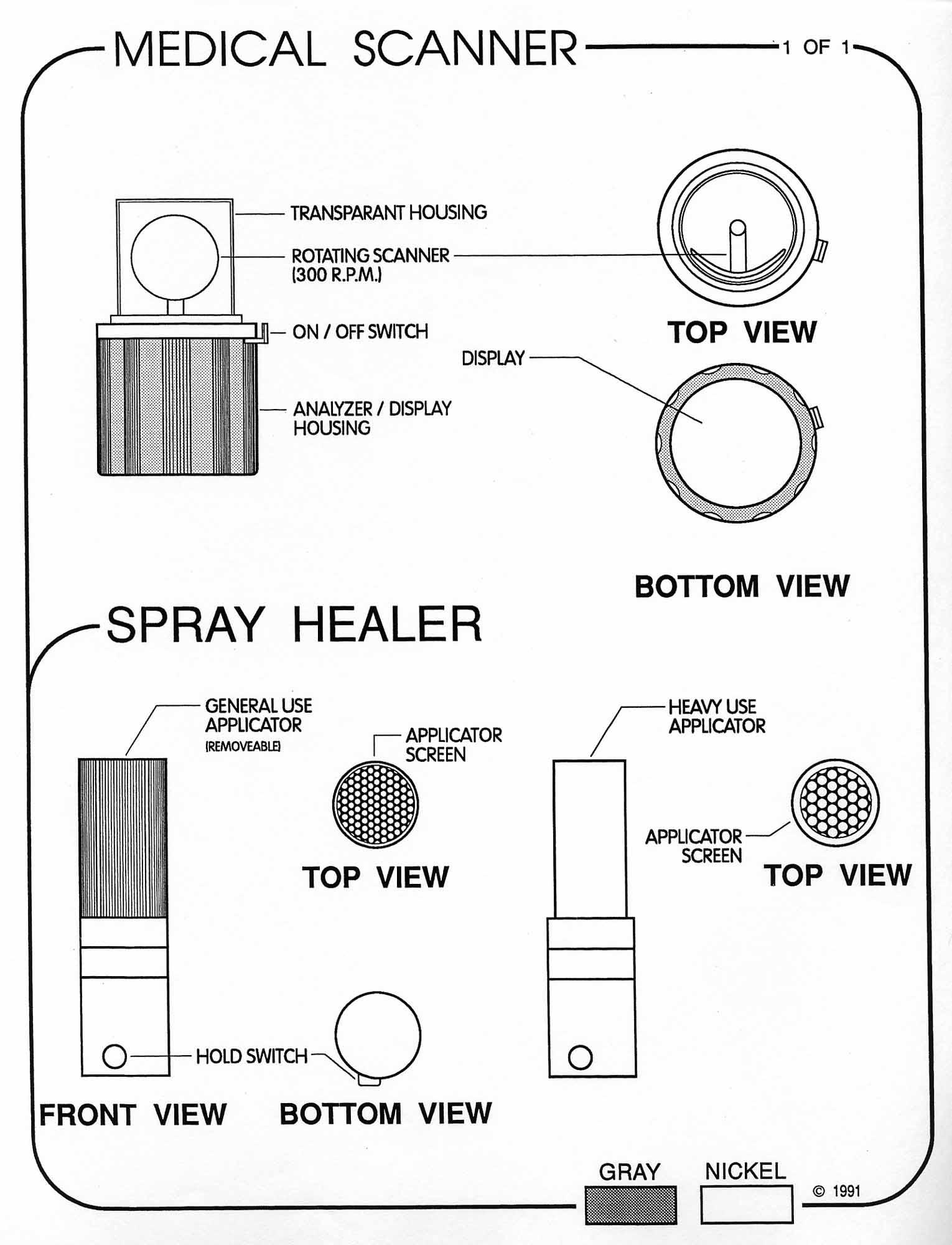 Star trek blueprints uss enterprise equipment packet sheet 5 medical scanner spray healer multiple views malvernweather Choice Image