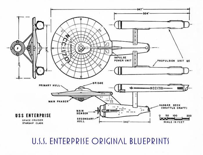 Star Trek Blueprints Uss Enterprise Space Cruiser