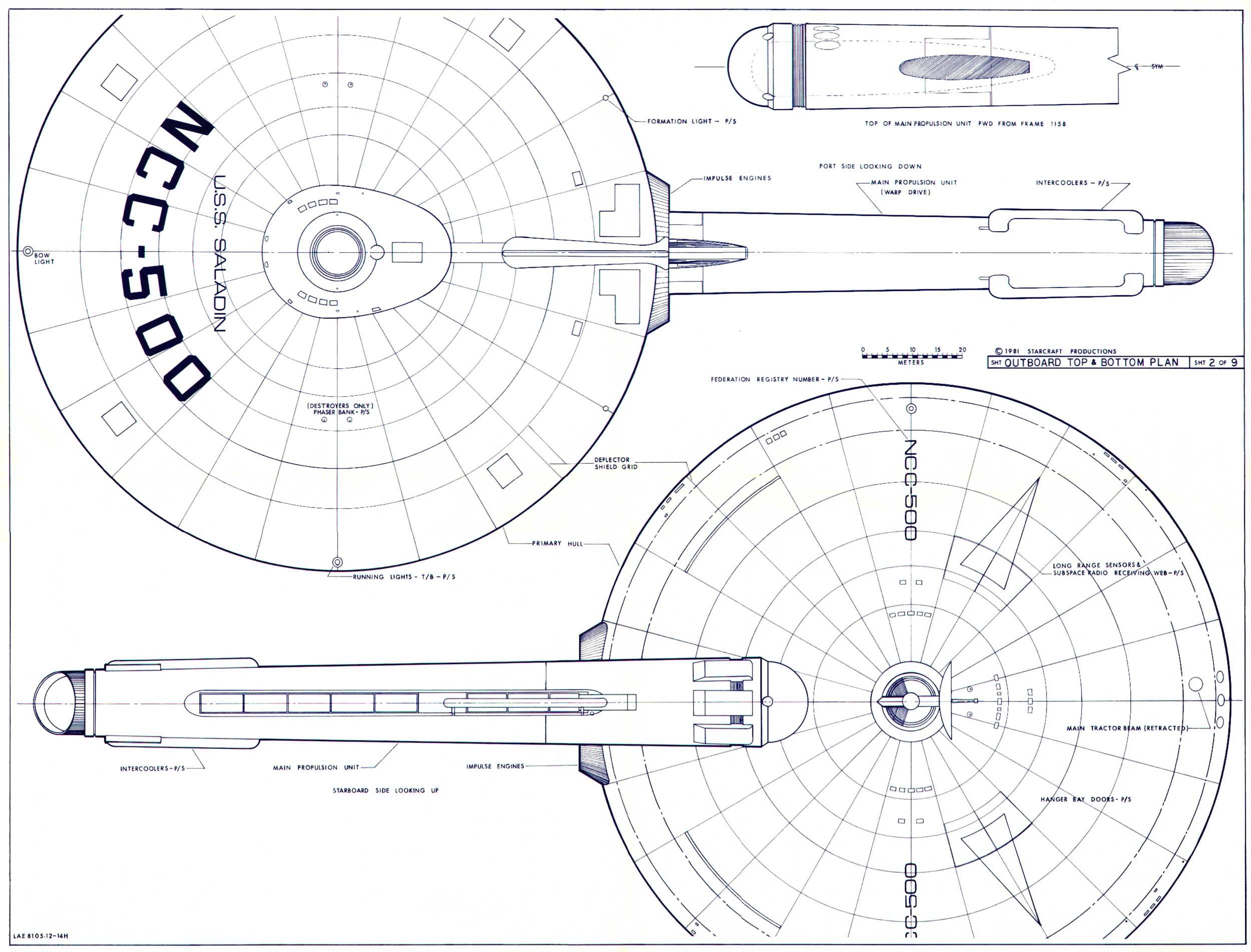 star trek blueprints  saladin class destroyer    scout