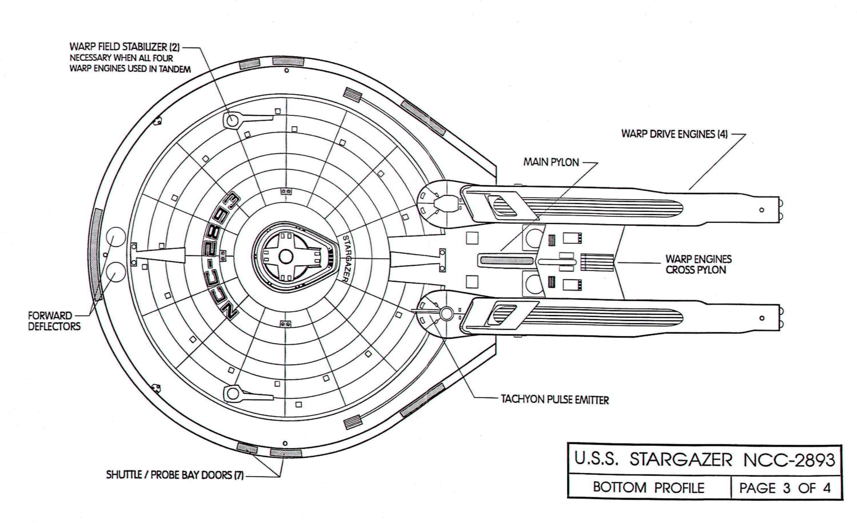 star trek blueprints  u s s  stargazer ncc