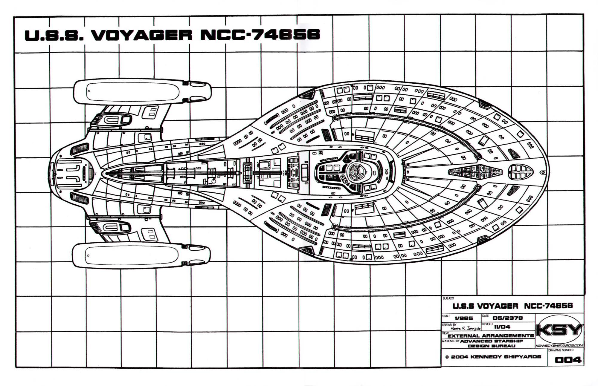 [QMVU_8575]  Star Trek Blueprints: Intrepid Class Starship U.S.S. Voyager NCC-74656 | Voyager Schematics |  | Cygnus-X1.Net
