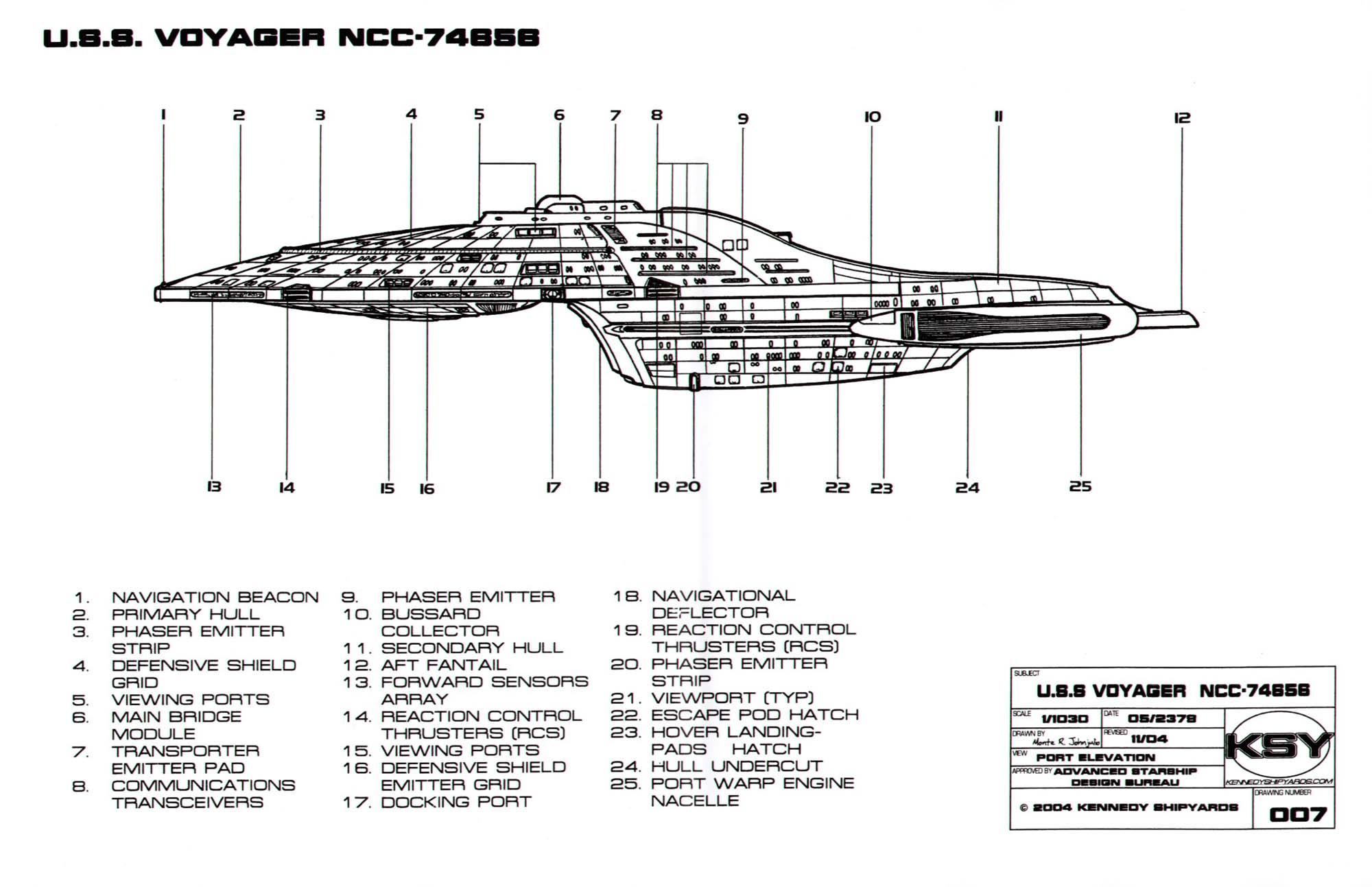 Star Trek Blueprints Intrepid Class Starship Uss Voyager Ncc 74656 Spaceship Engine Diagram
