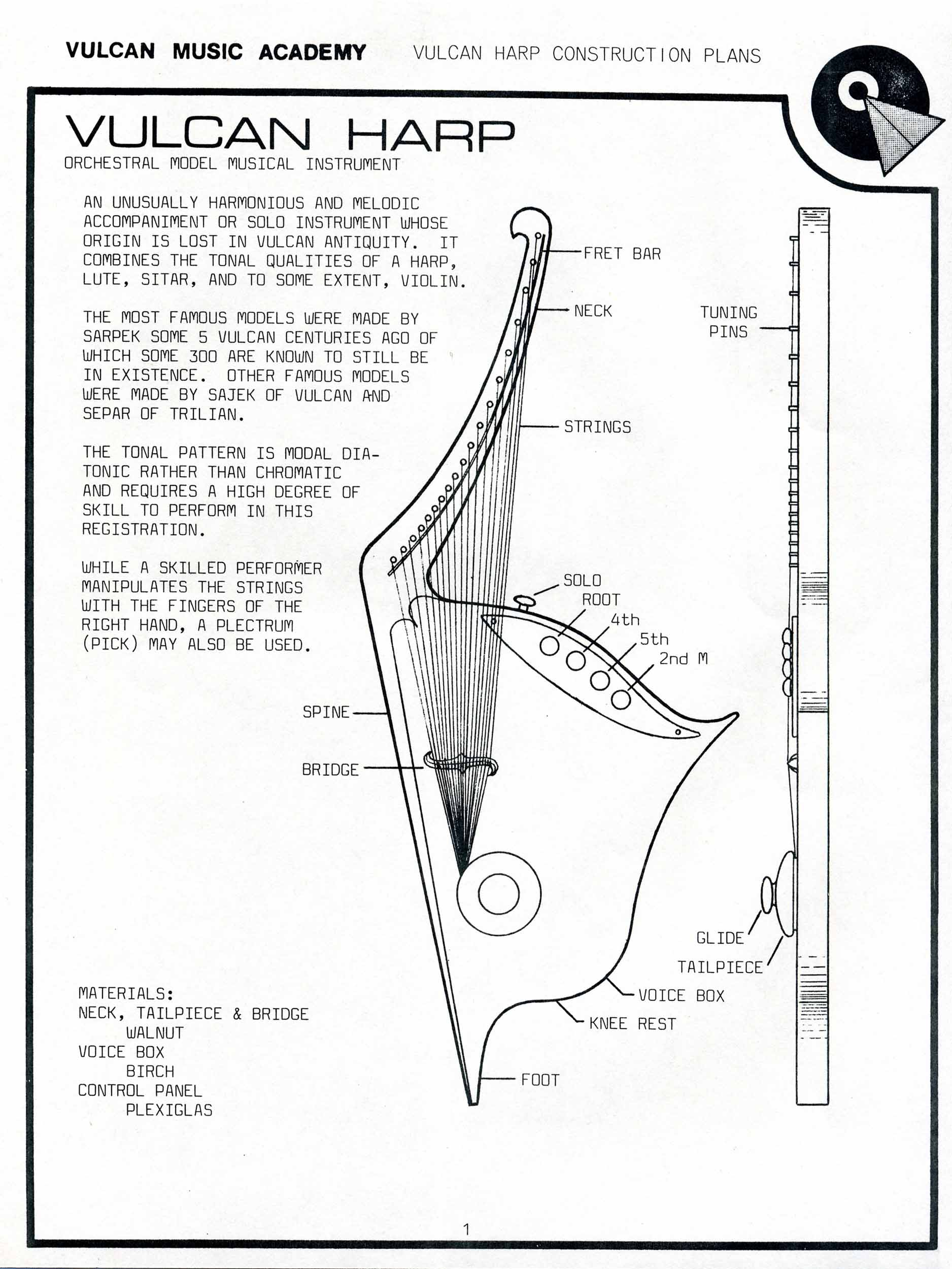 star trek blueprints  vulcan harp construction plans
