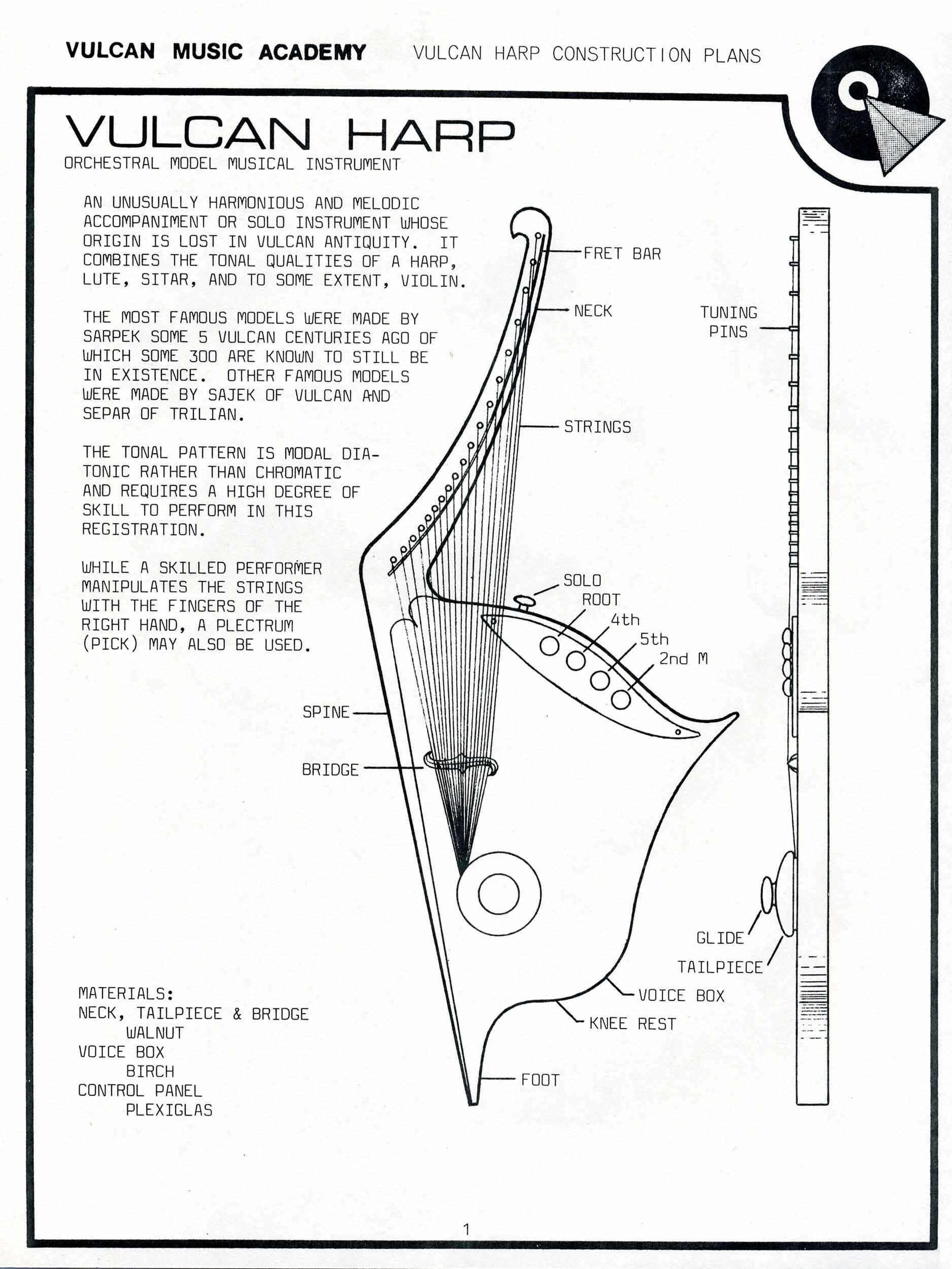 vulcan harp construction plans sheet 1 star trek blueprints vulcan harp construction plans Light Dimmer Switch at gsmx.co