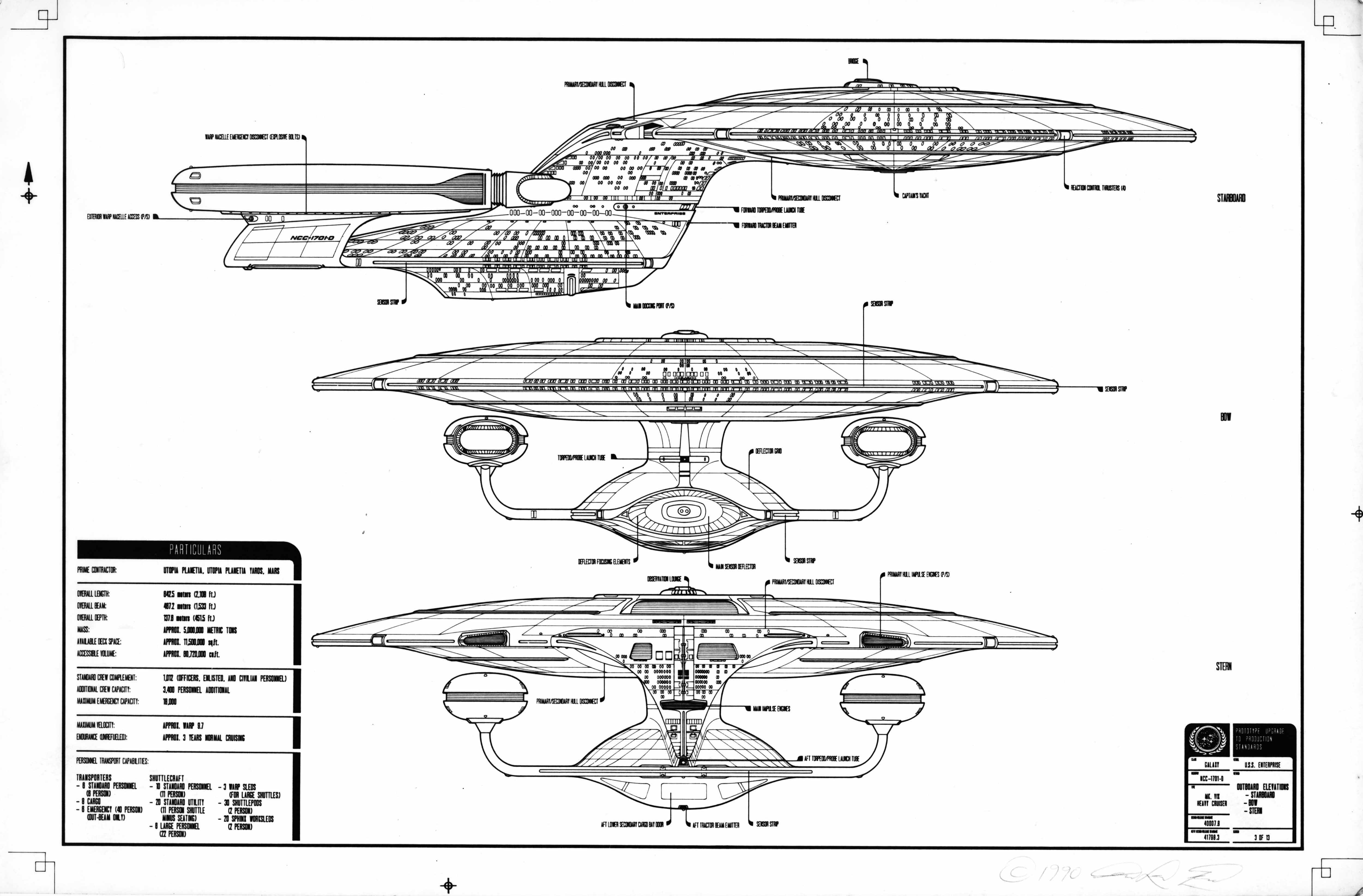 the original ed whitefire enterprise ncc-1701-d blueprints, Schematic