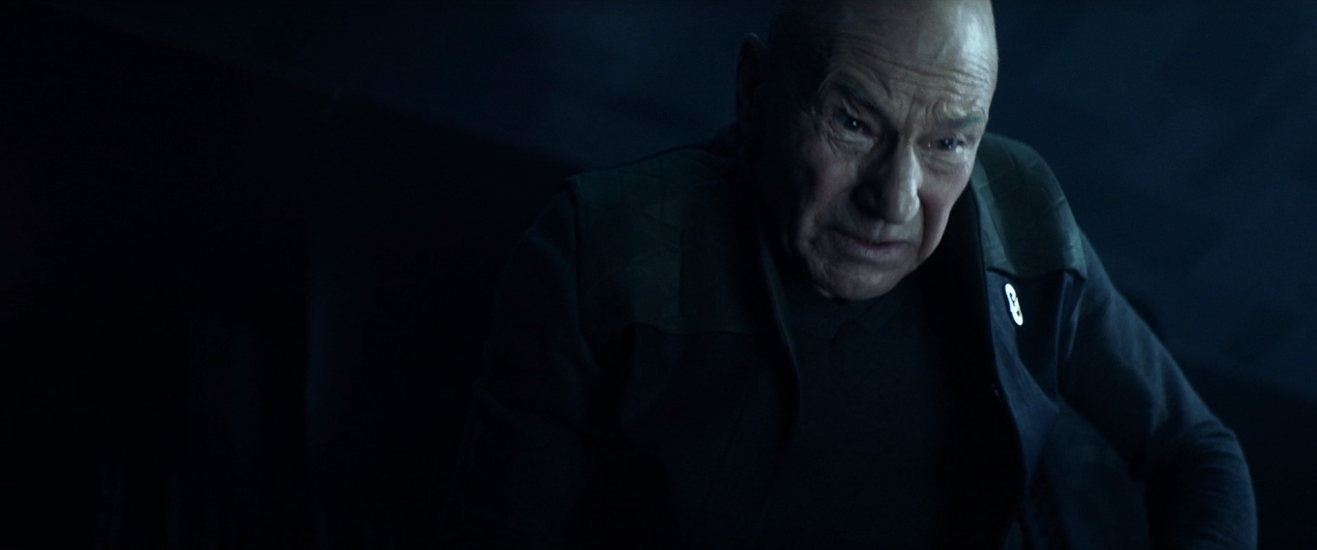 """Jean-Luc Picard struggles with his past experiences with the Borg, triggered by his visit to the derelict Borg ship, in Star Trek: Picard """"The Impossible Box"""""""