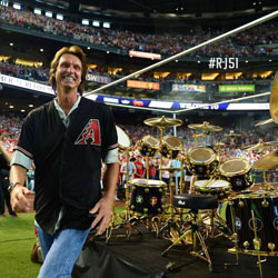 Baseball Hall of Famer Randy Johnson Receives a Replica Neil Peart R30 Drum Kit at Jersey Retirement Ceremony