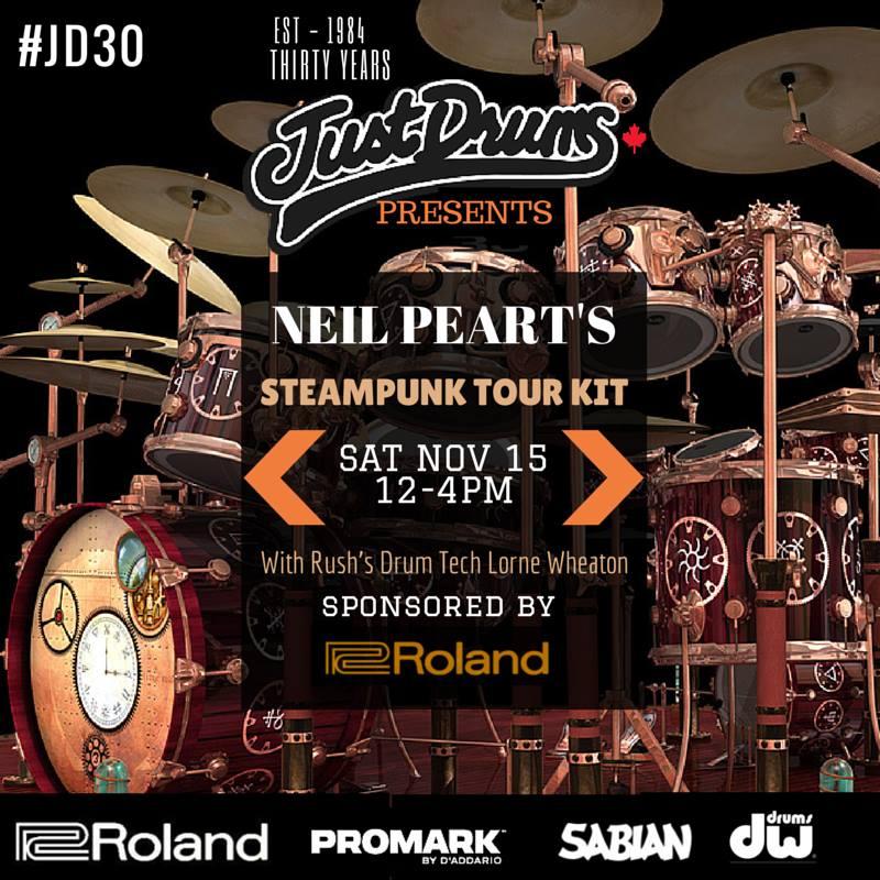 Neil Pearts Time Machine Clockwork Angels Tour Kit On Display