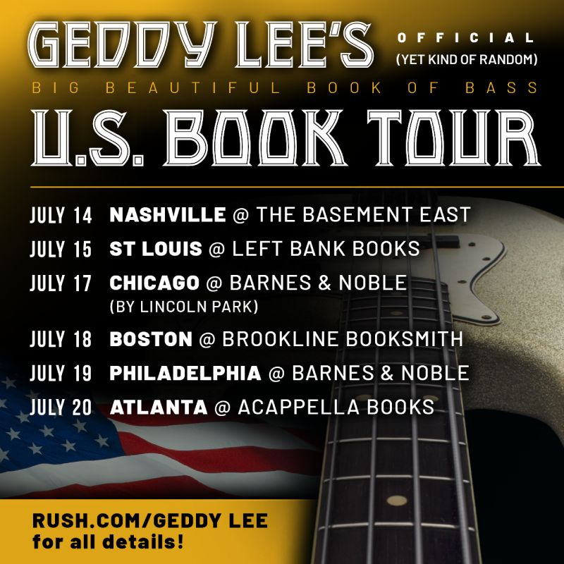 Geddy Lee Announces Six More U.S. Dates For His Big Beautiful Book of Bass Signing Tour