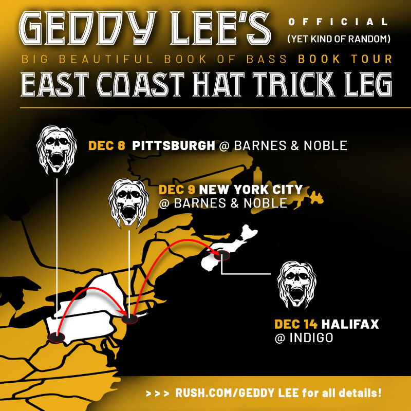 Geddy Lee Announces Three East Coast Dates For His Big Beautiful Book of Bass Signing Tour
