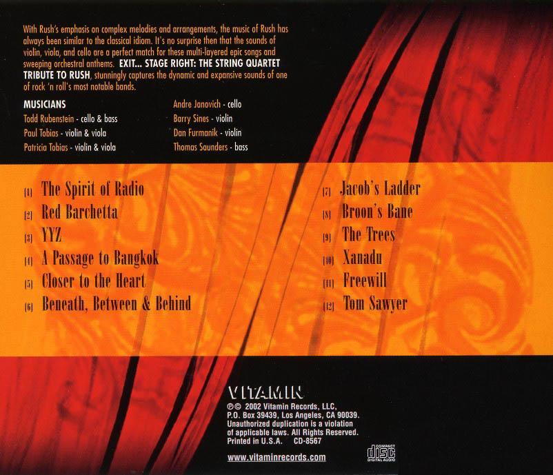 Lyric passage to bangkok lyrics : Exit...Stage Right: The String Quartet Tribute to Rush - Album Artwork