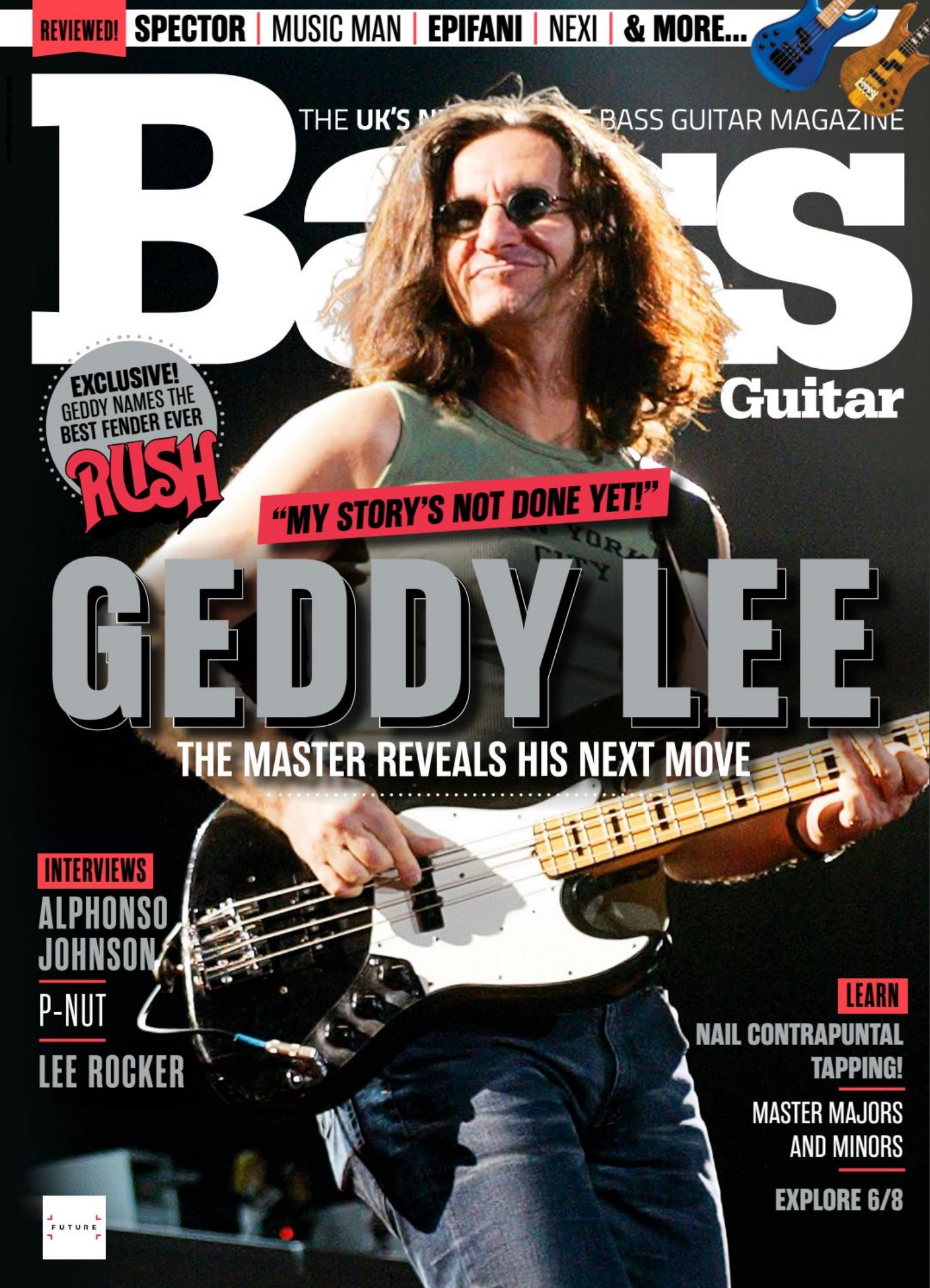 Geddy Lee Featured on the Cover of Bass Guitar Magazine - Talks About the Future