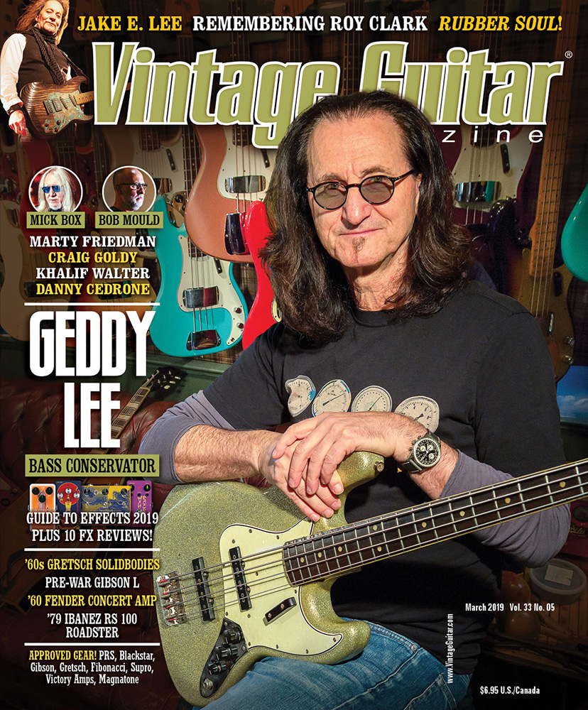 Geddy Lee Featured on the Cover of Vintage Guitar Magazine's March 2019 Issue - Article Now Online