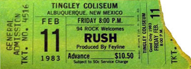 Rush with Golden Earring show ticket Albuquerque - Tingley Coliseum Arena February 11, 1983