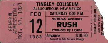 Rush with Golden Earring show ticket Albuquerque - Tingley Coliseum Arena February 12, 1983