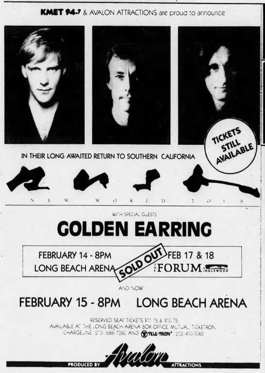 Rush with Golden Earring show ad Long Beach - Long Beach Arena February 14-15 and Los Angeles - Great Western Forum February 17-18