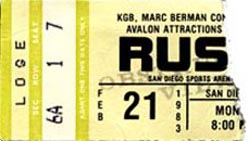 Rush with Golden Earring show ticket Tucson - Community Center February 21, 1983