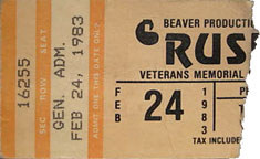 Rush with Golden Earring show ticket Tucson - Community Center February 24, 1983