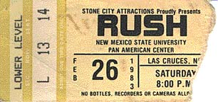 Rush with Golden Earring show ticket Las Cruces - Pan American Center February 26, 1983