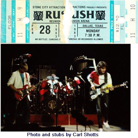 Rush with Golden Earring show ticket Dallas - Reunion Arena February 28, 1983