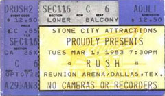 Rush with Golden Earring show ticket Dallas - Reunion Arena March 01, 1983