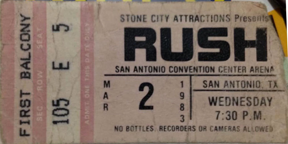 Rush with Golden Earring show ticket San Antonio - Convention Centre Arena March 02, 1983